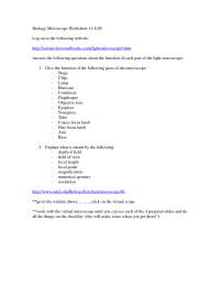 12 Best Images of Microscope Parts Worksheet Answers ...