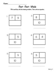 14 Best Images of Part Part Whole Math Worksheets First