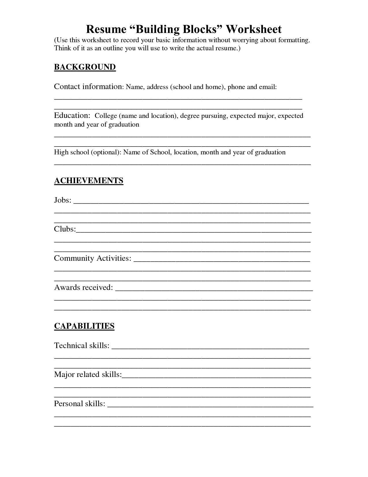 resume fill out sheet