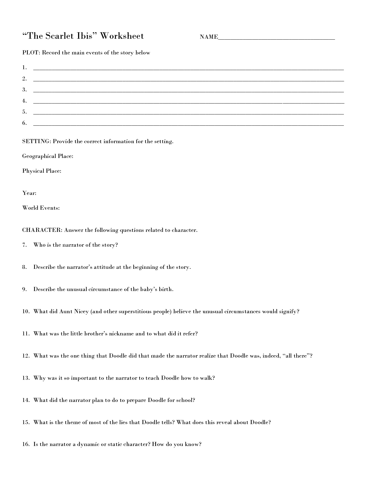 12 Best Images Of Describe The Setting Worksheet