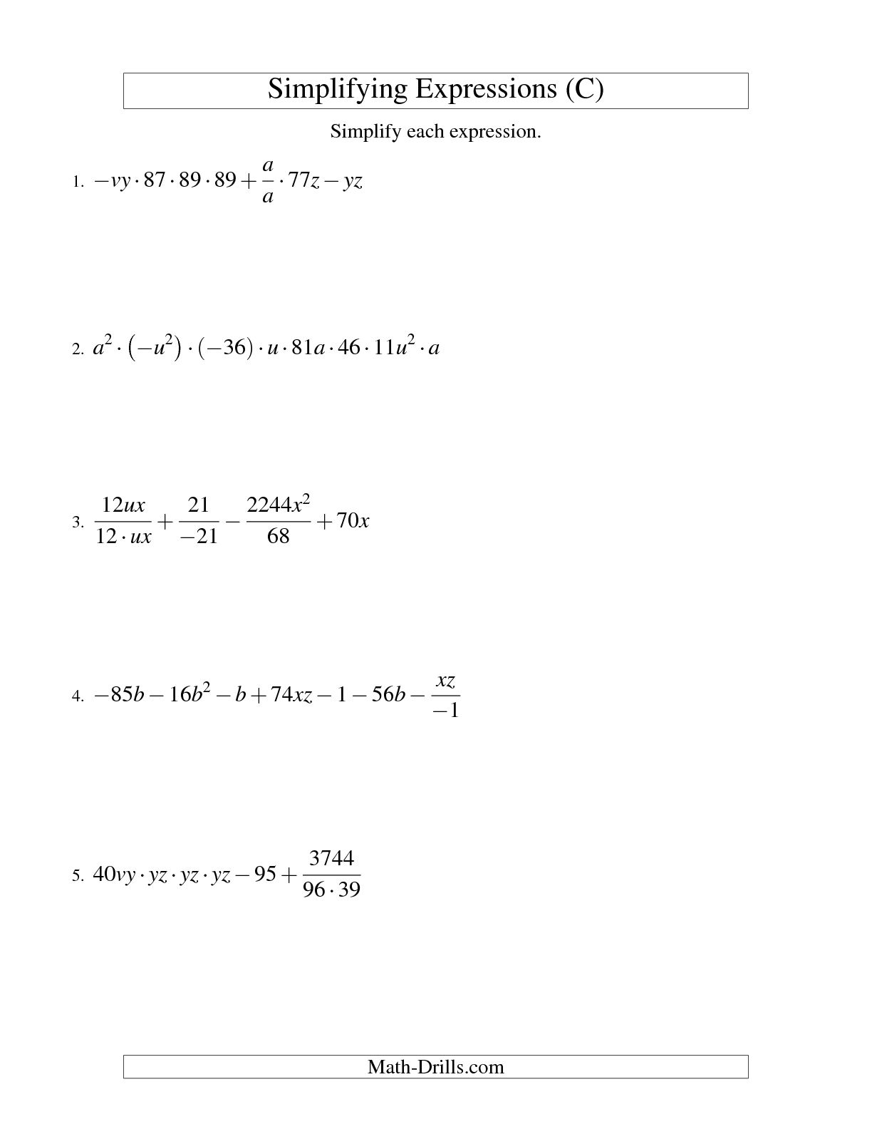 10 Best Images Of Evaluating Expressions Worksheets 8th