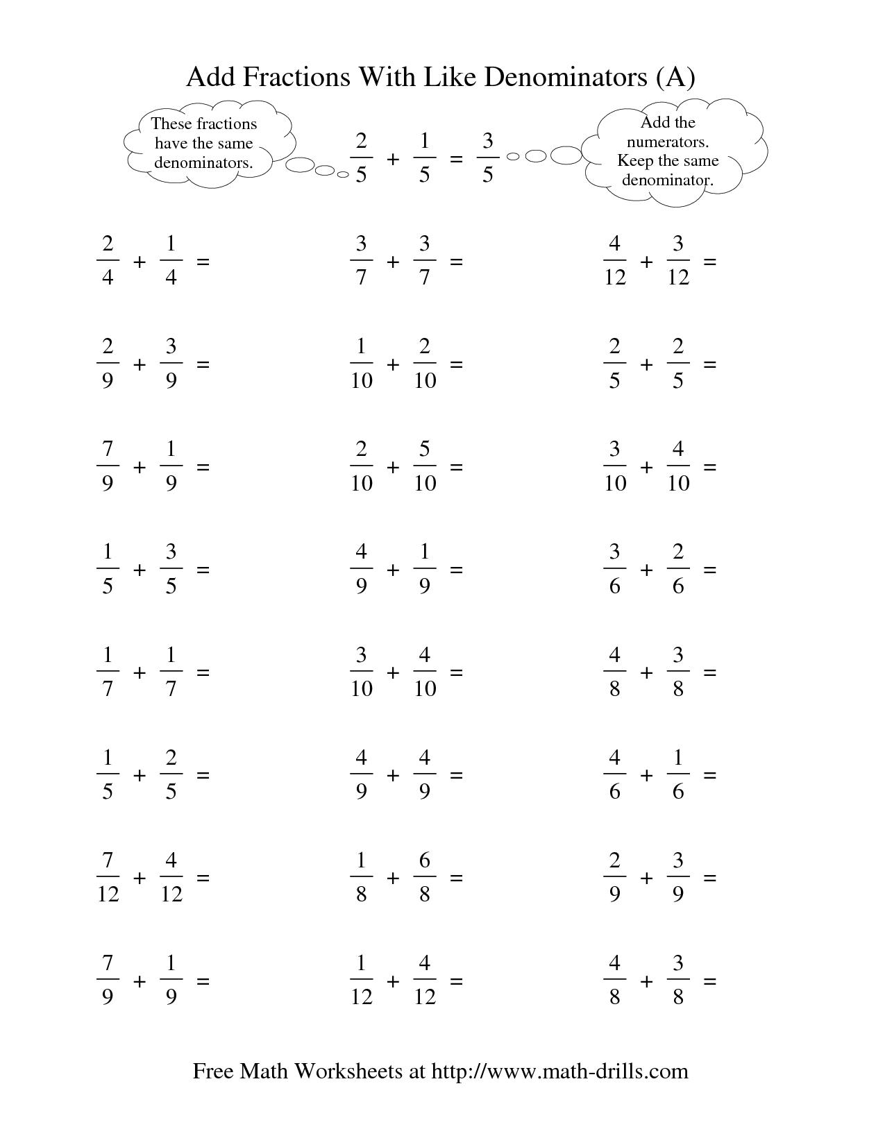 Worksheet Adding Fractions