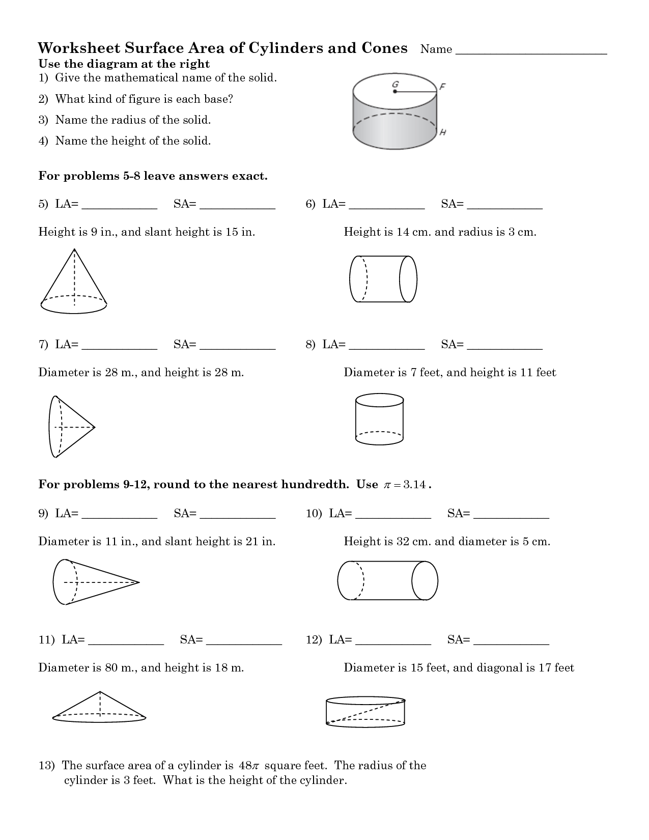 16 Best Images Of Cone Cylinder And Sphere Worksheet