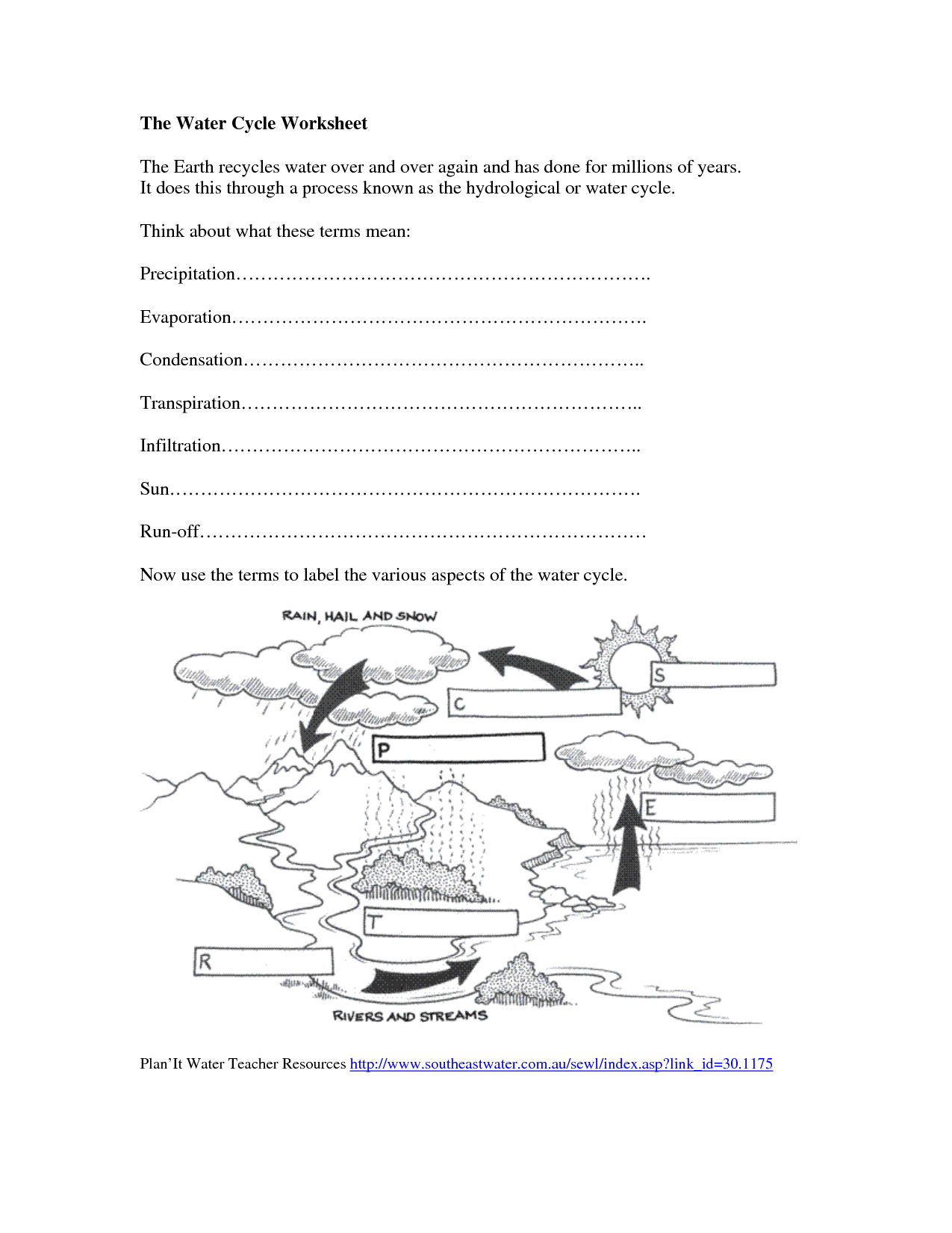 Label Water Cycle Worksheet For Grade 3