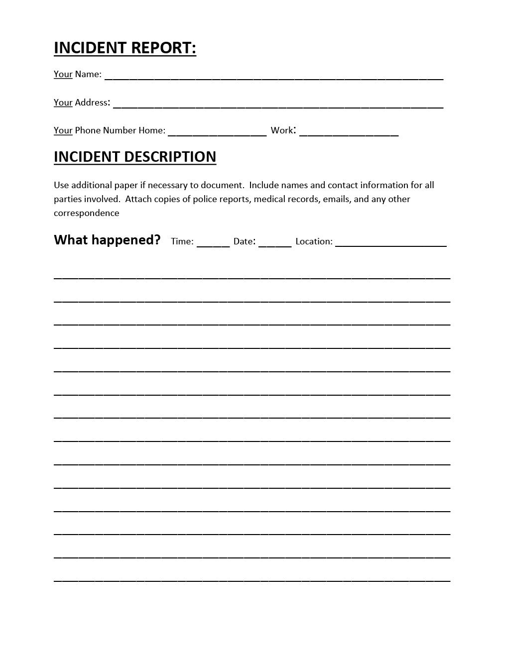 incident report sheet template