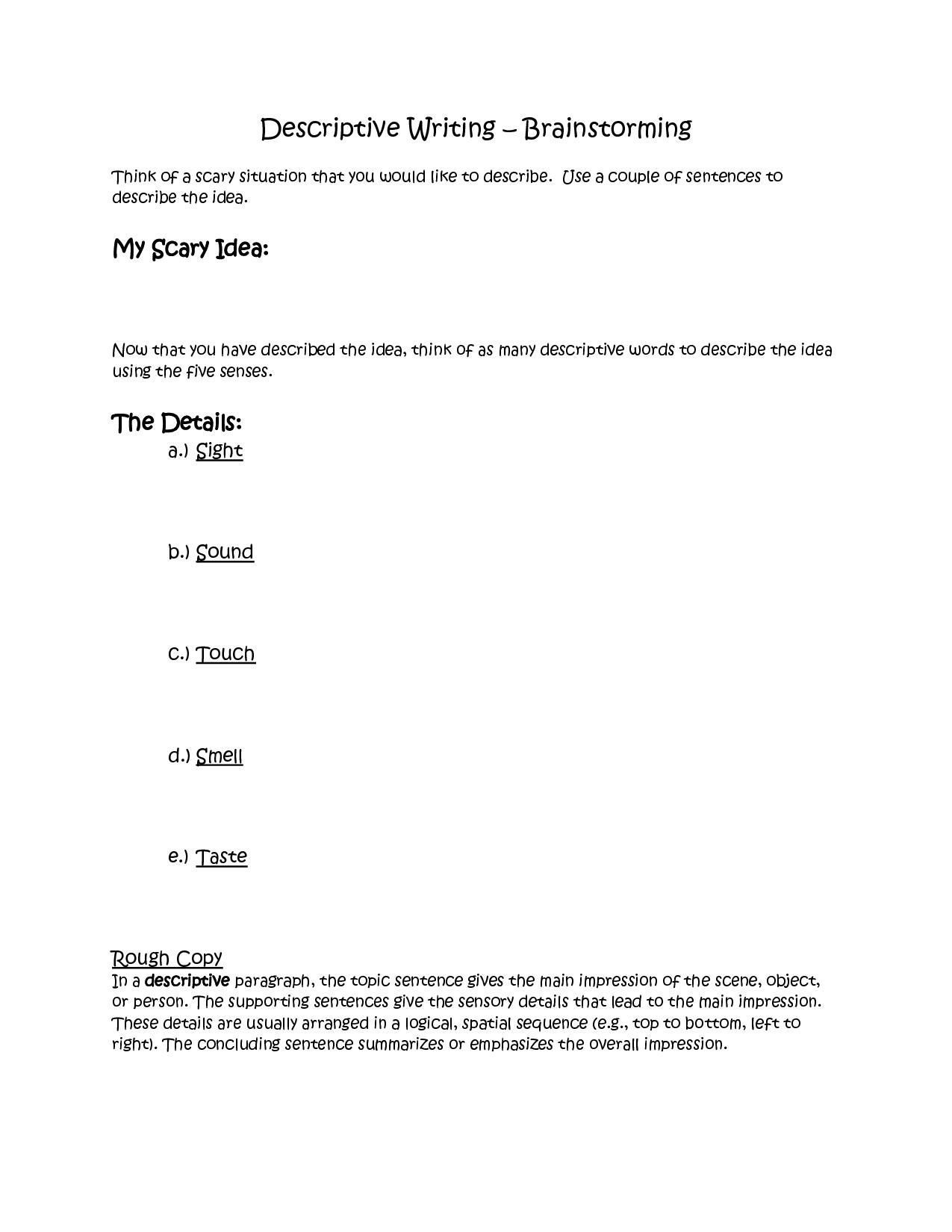 Essay Brainstorming Worksheet