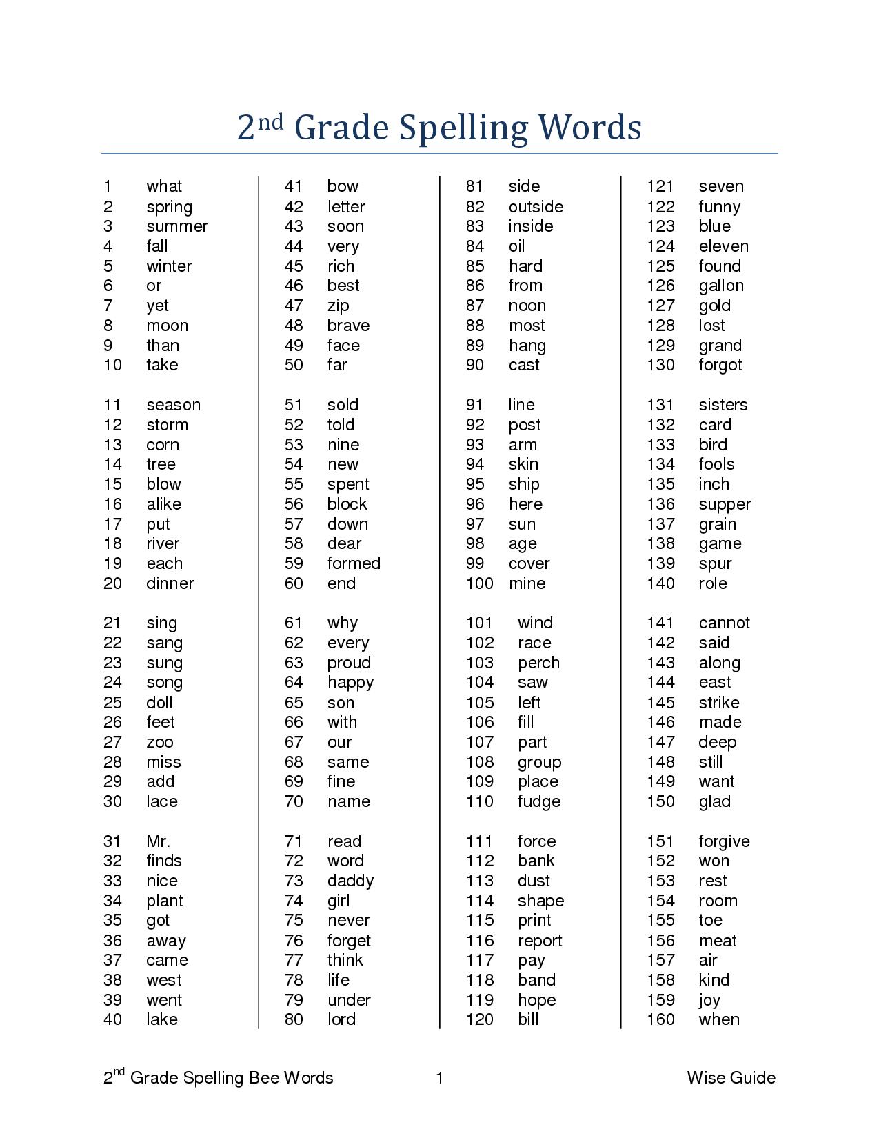 14 Best Images Of 3rd Grade Worksheets Spelling Words