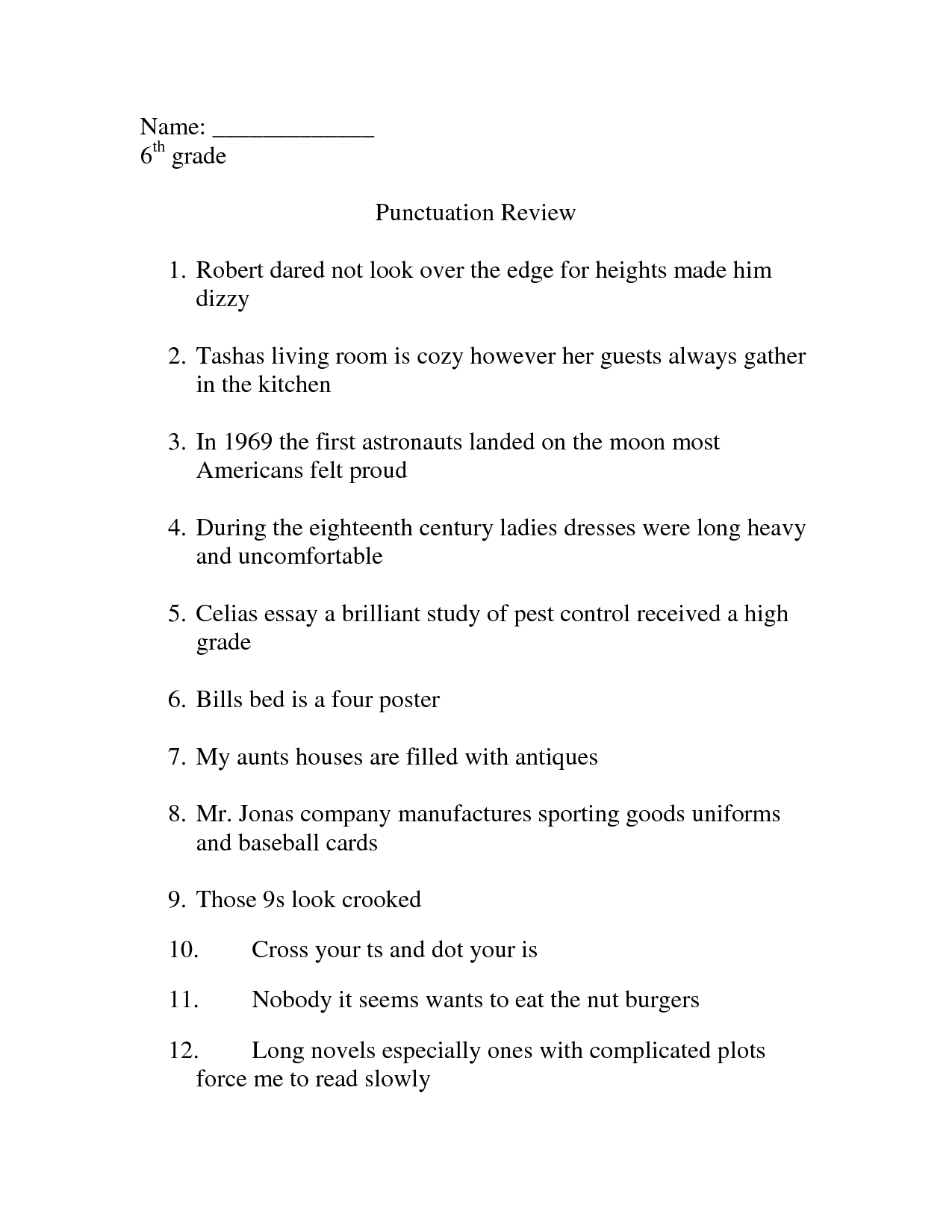 6th Grade English Grammar Worksheets