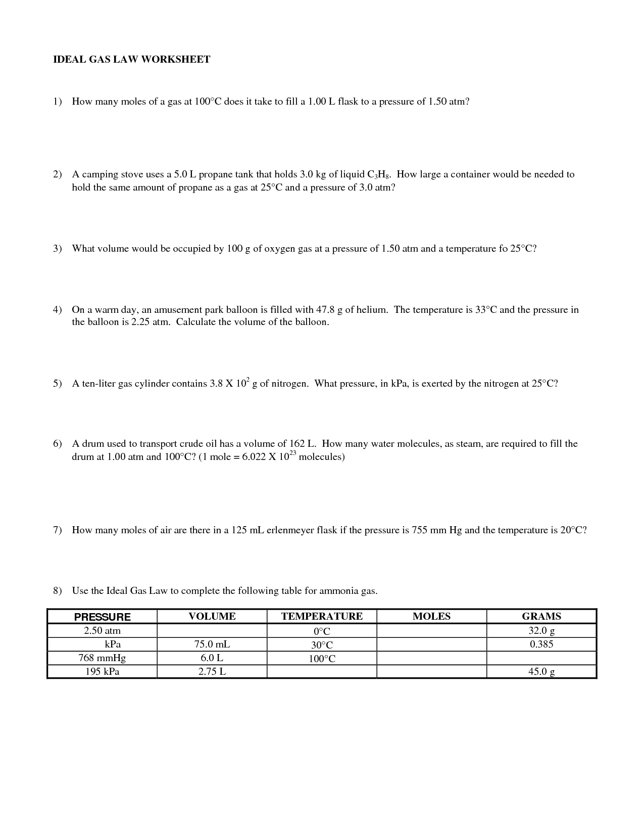 Gas Laws Worksheet With Answers