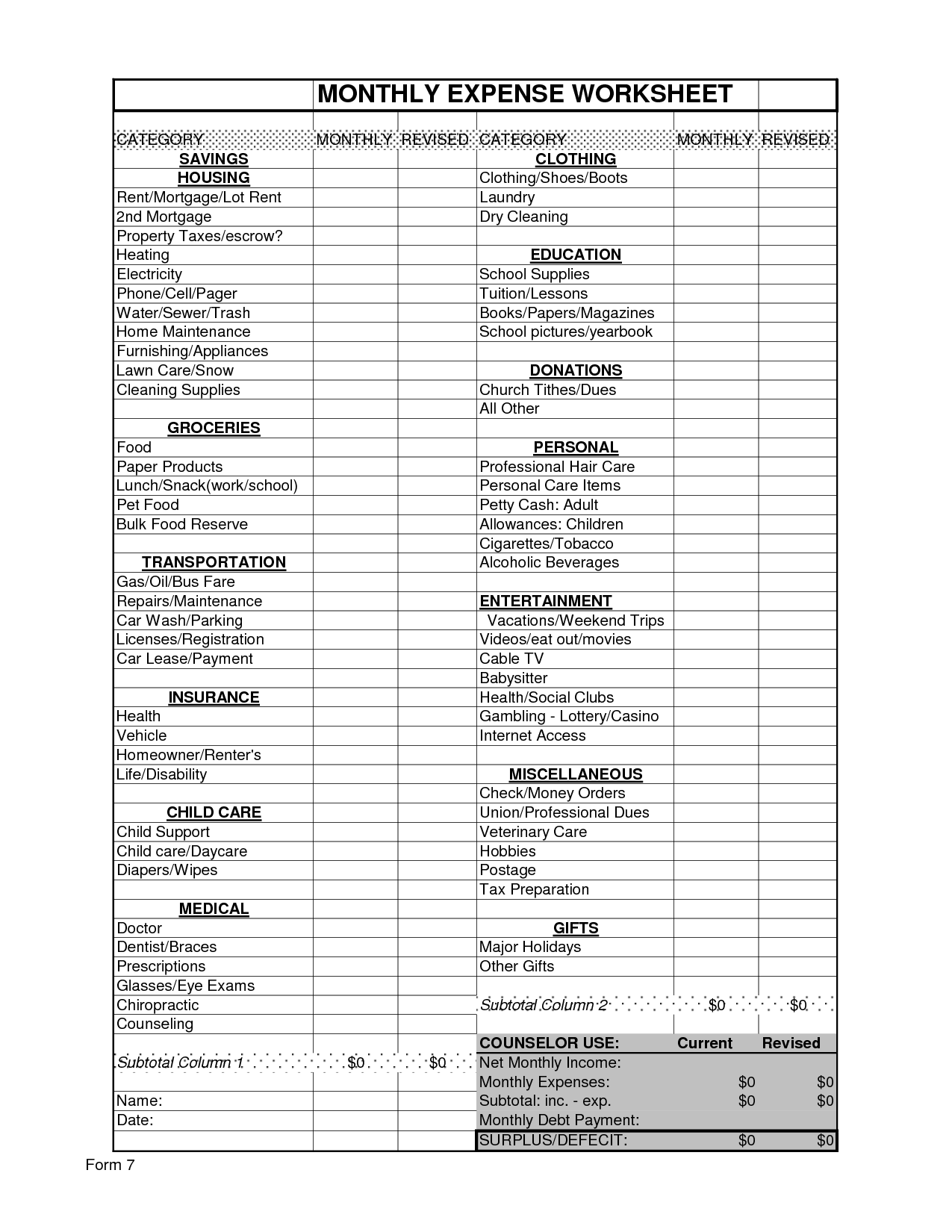 10 Best Images Of Monthly Income Budget Worksheet