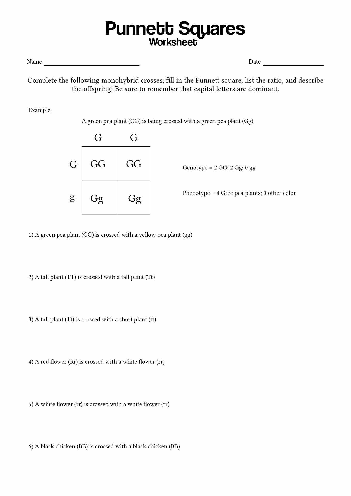 33 Punnett Square Worksheet 1 Answers
