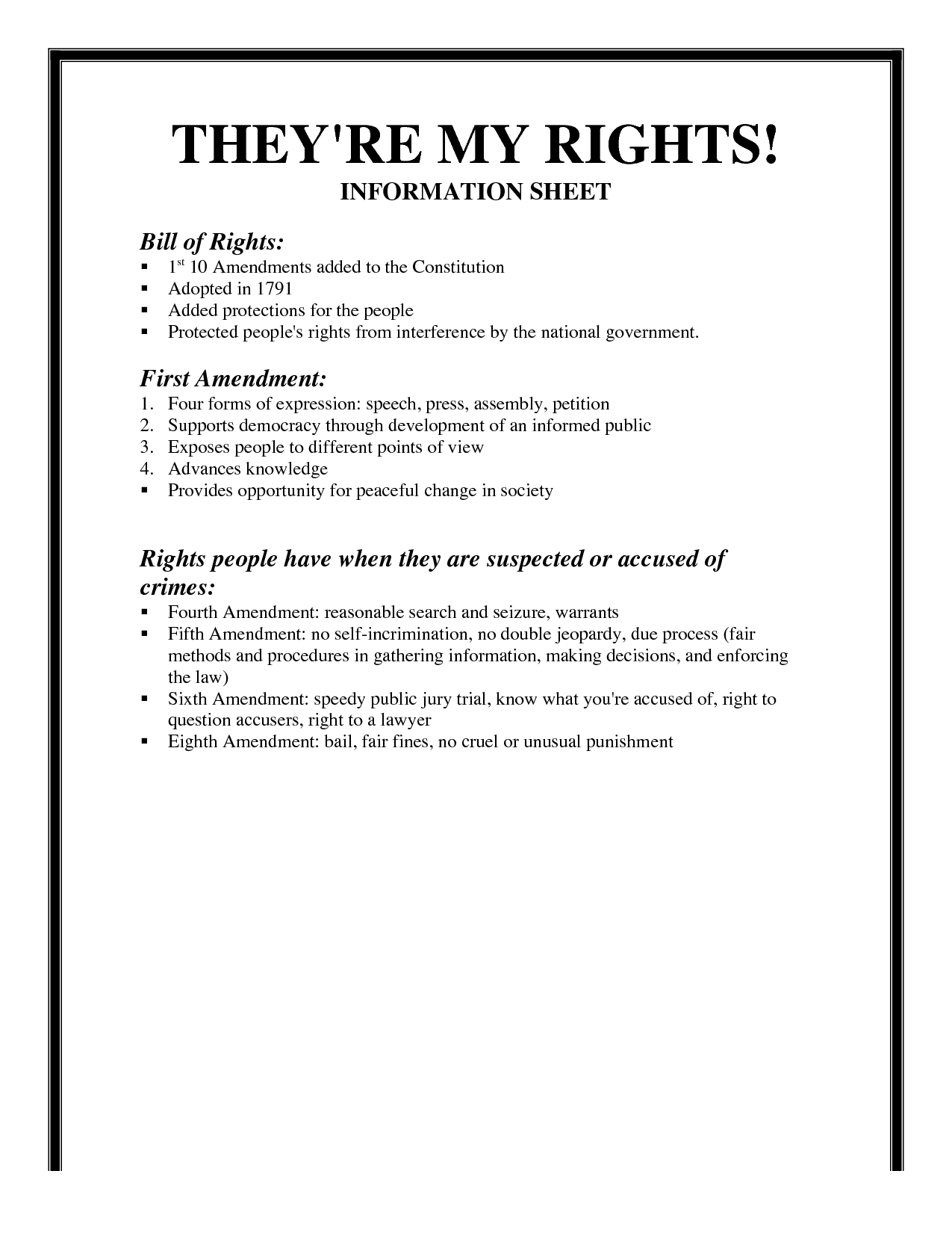 6 Best Images Of Bill Of Rights Amendments Worksheet Icivics