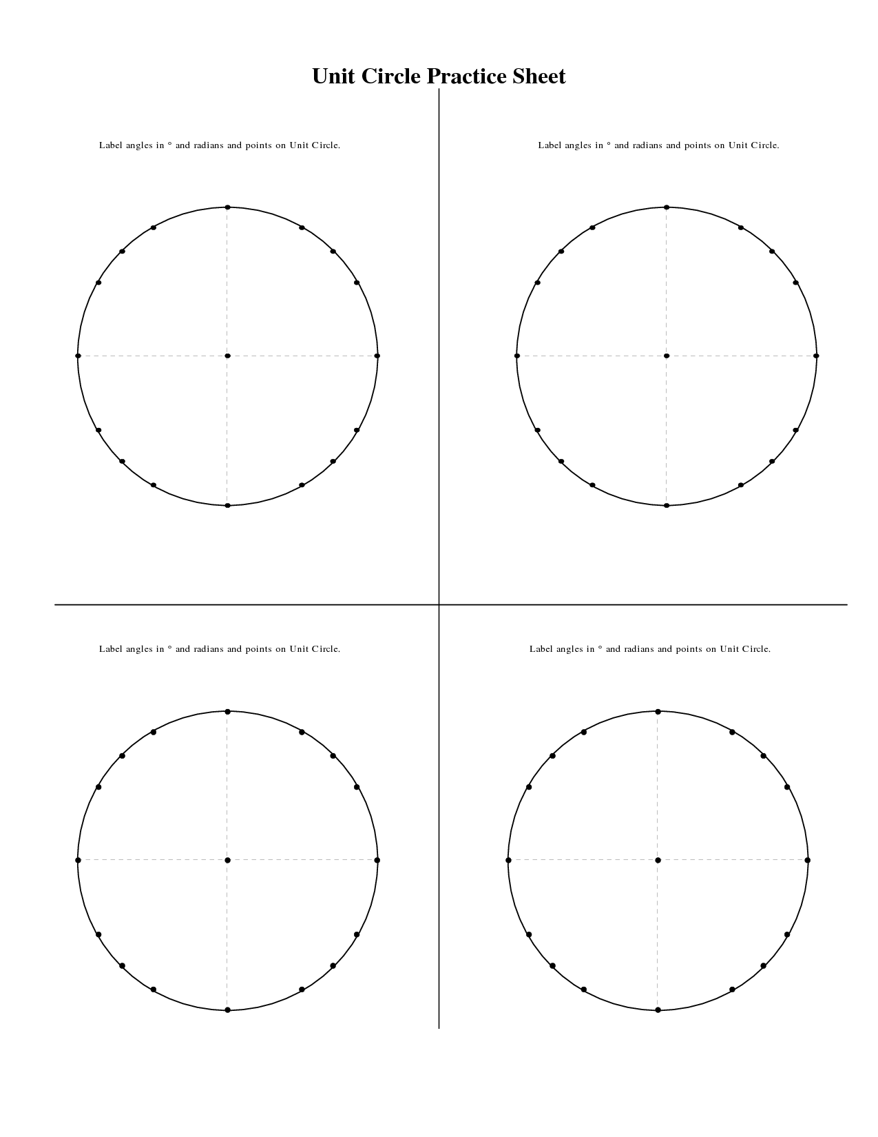 10 Best Images Of Unit Circle Fill In Worksheet