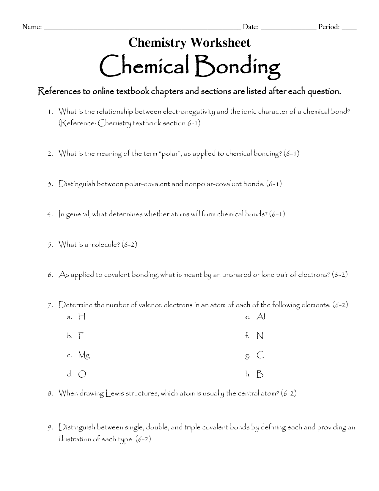 15 Best Images Of Holt Chemical Bonding Worksheet Answer
