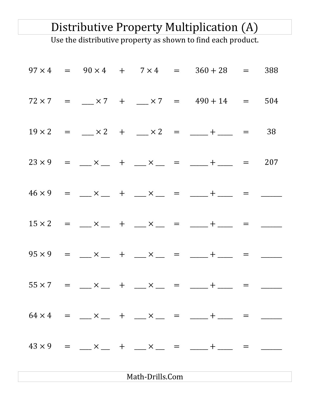 10 Best Images Of Distributive Property Worksheets For Elementary