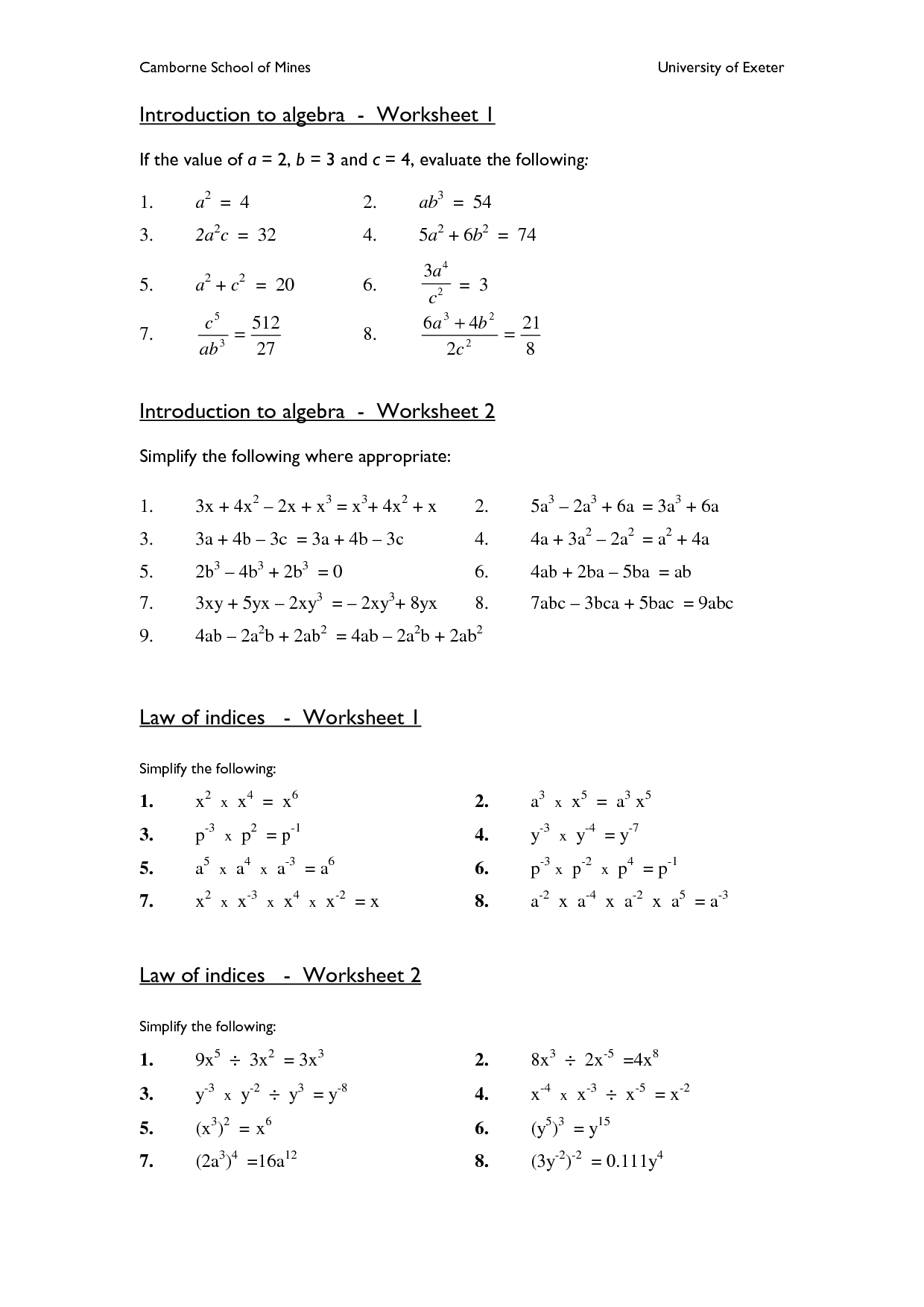 College Algebra Word Problem Worksheet