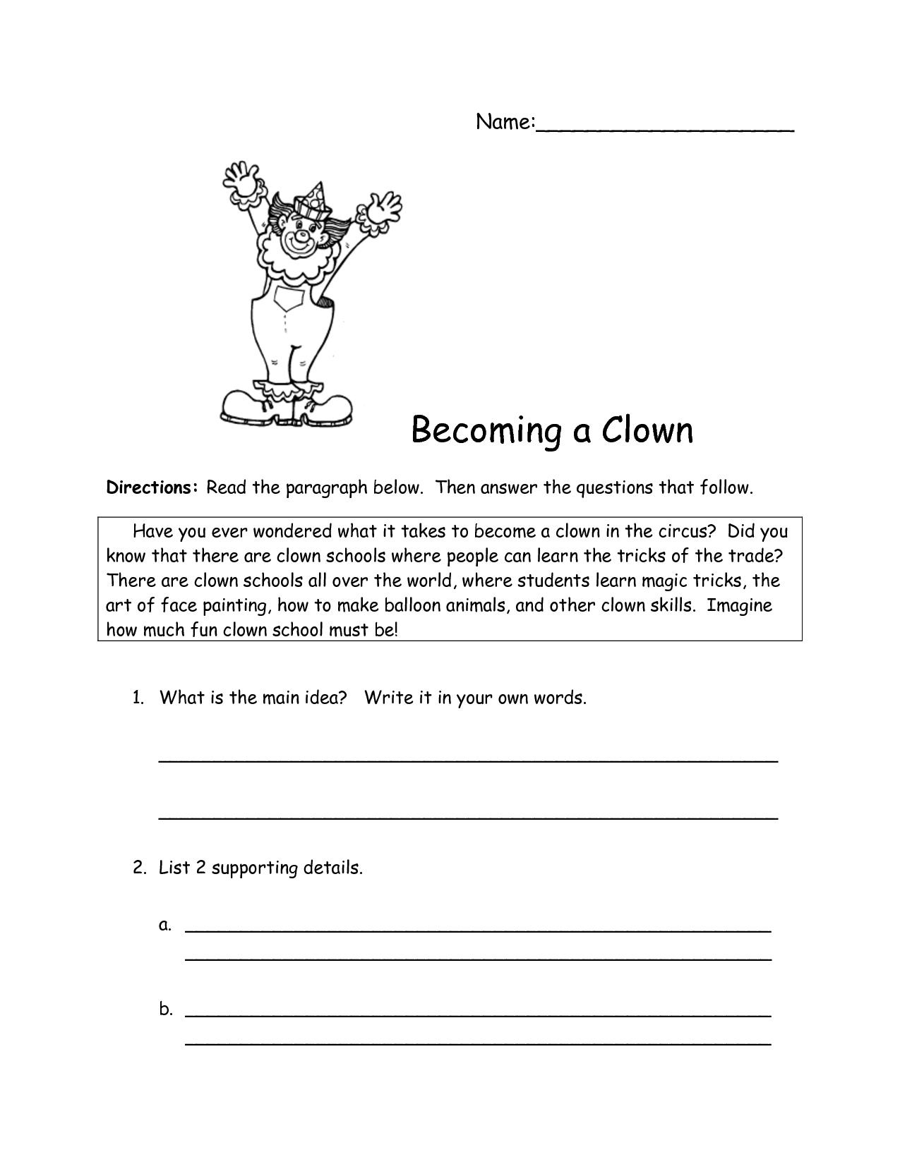 Main Idea And Supporting Details Worksheets Grade 10