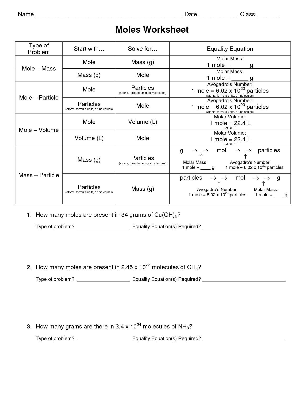 Worksheet On Stoichiometry Answer Key