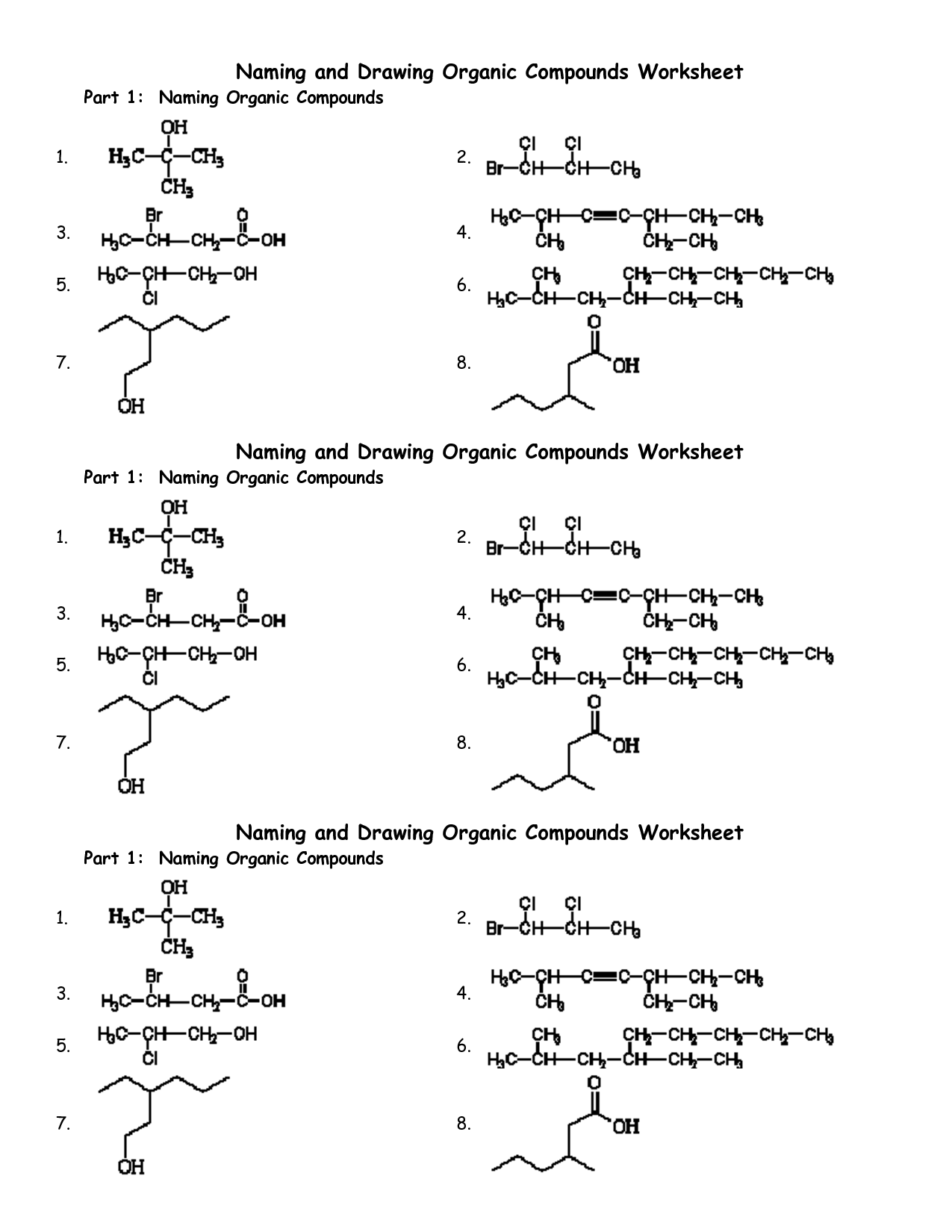 Chemical Formula Worksheet