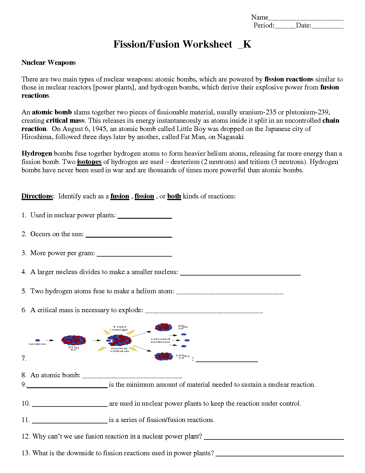 Worksheet Nuclear Decay Key