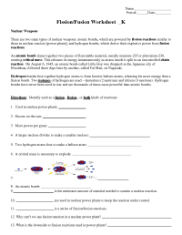 Nuclear chemistry review worksheet answers