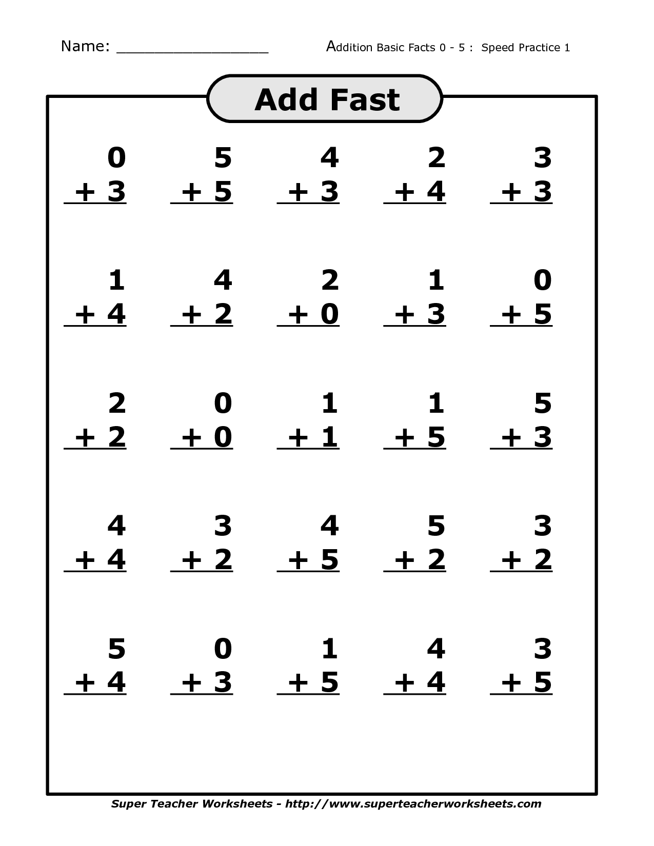 Math Fact Worksheet For First Grade