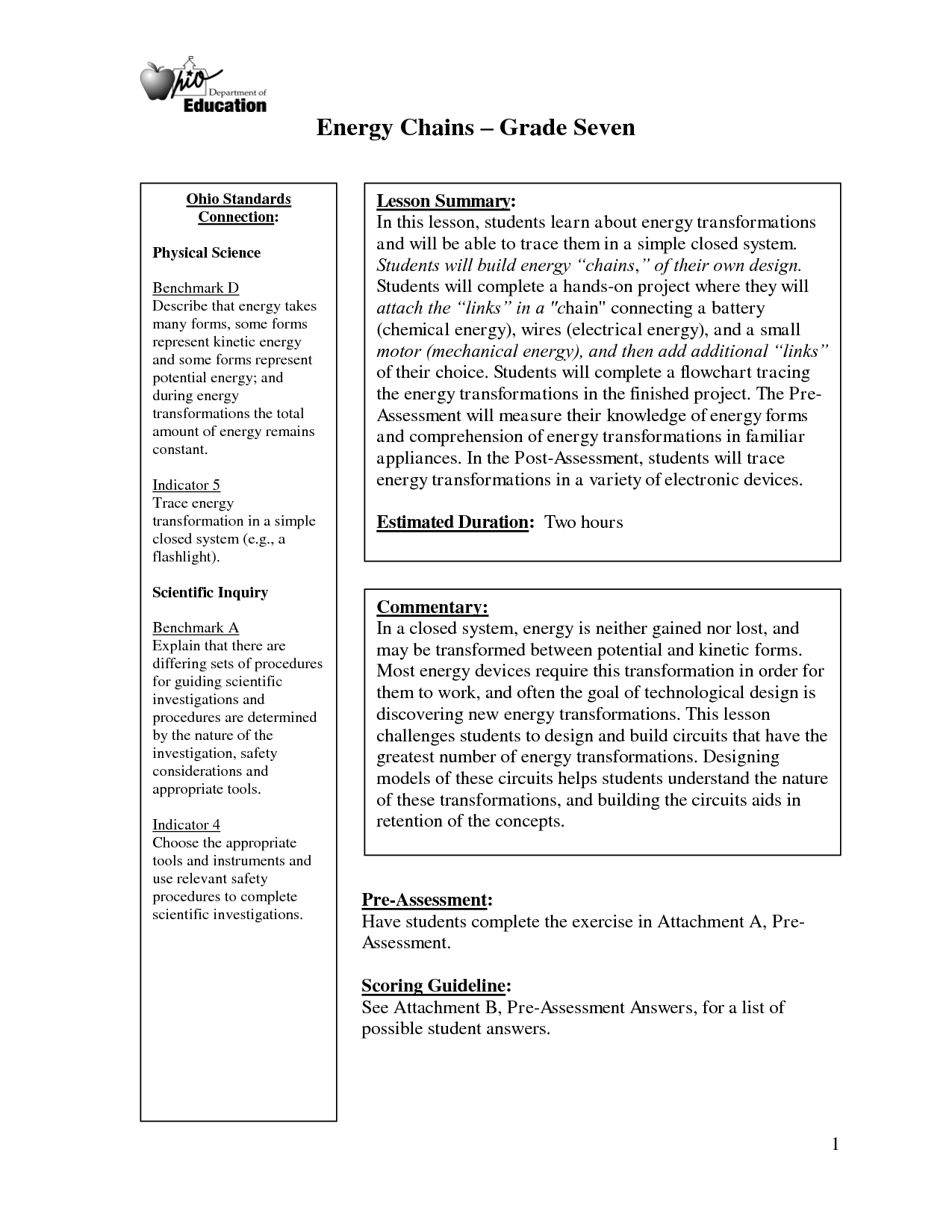 Energy Worksheet 4th Grade