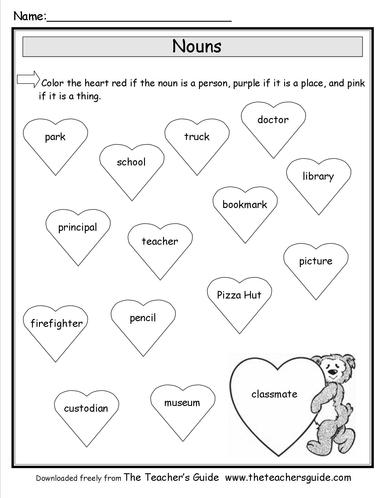 7 Best Images Of Nouns Person Place Or Thing Worksheet