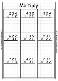 Multiplication Worksheets Grade 3 - 4 digit long ...