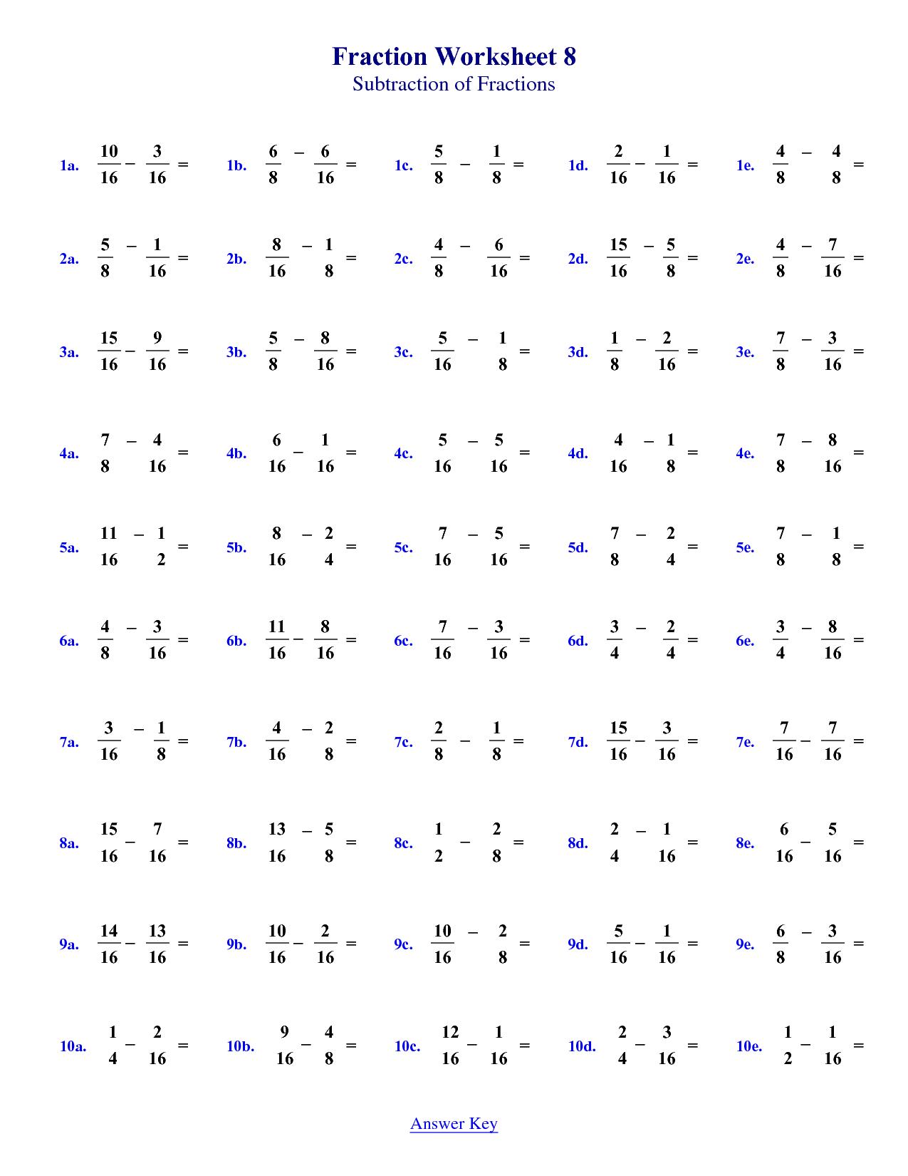 Fraction Worksheet 4th Grade