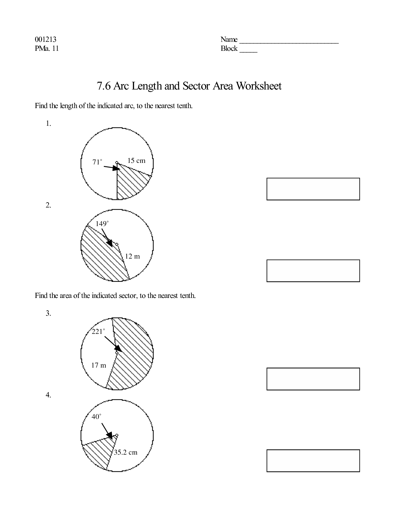 Worksheets. Arc Length And Sector Area Worksheet