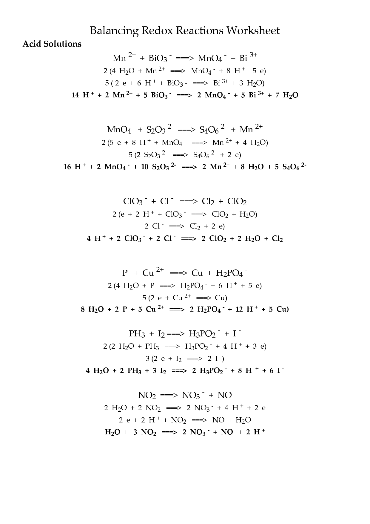 Oxidation Reduction Reactions Worksheet Promo Sapin De