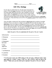 11 Best Images of Cell City Analogy Worksheet Answers ...