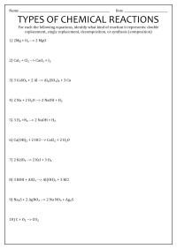 worksheet. Identifying Chemical Reactions Worksheet