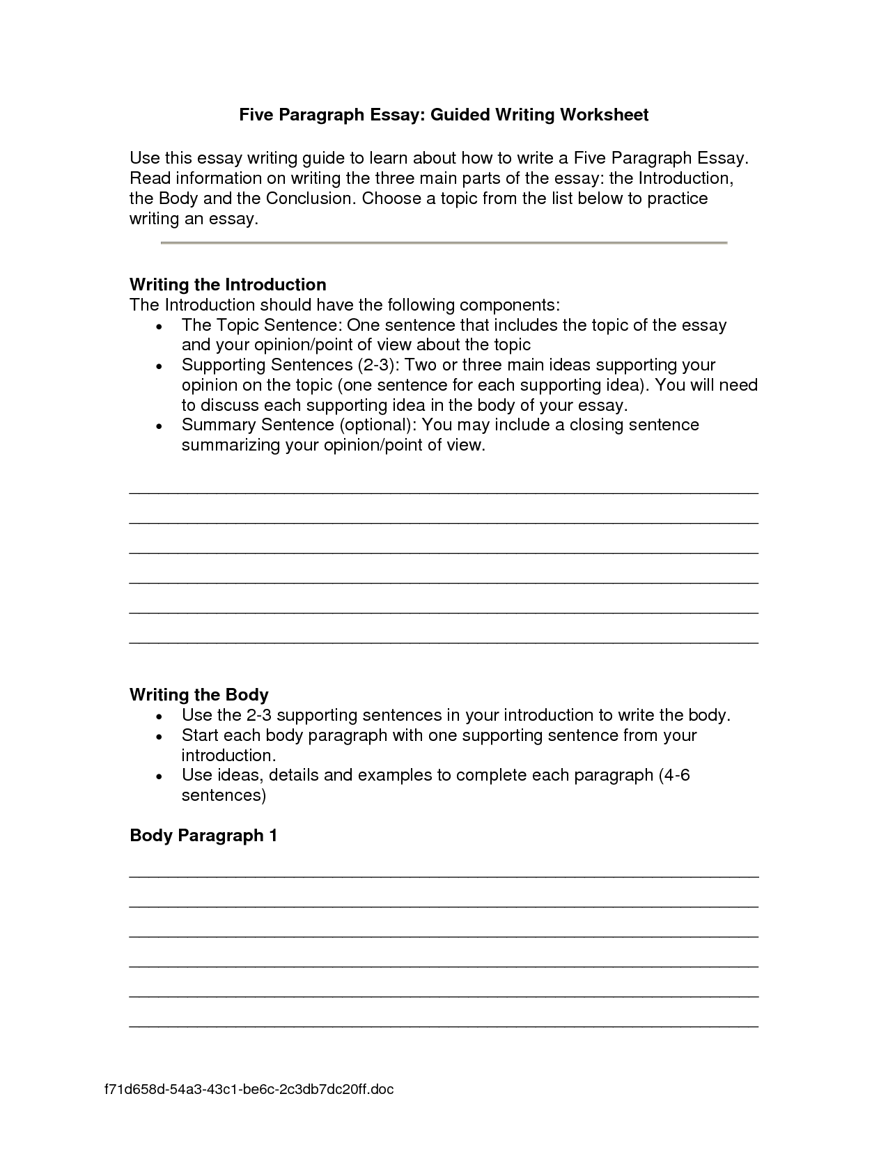 16 Best Images Of Essay Format Worksheet