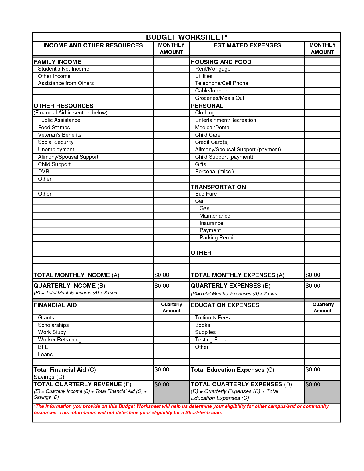 18 Best Images Of Blank Household Budget Worksheet