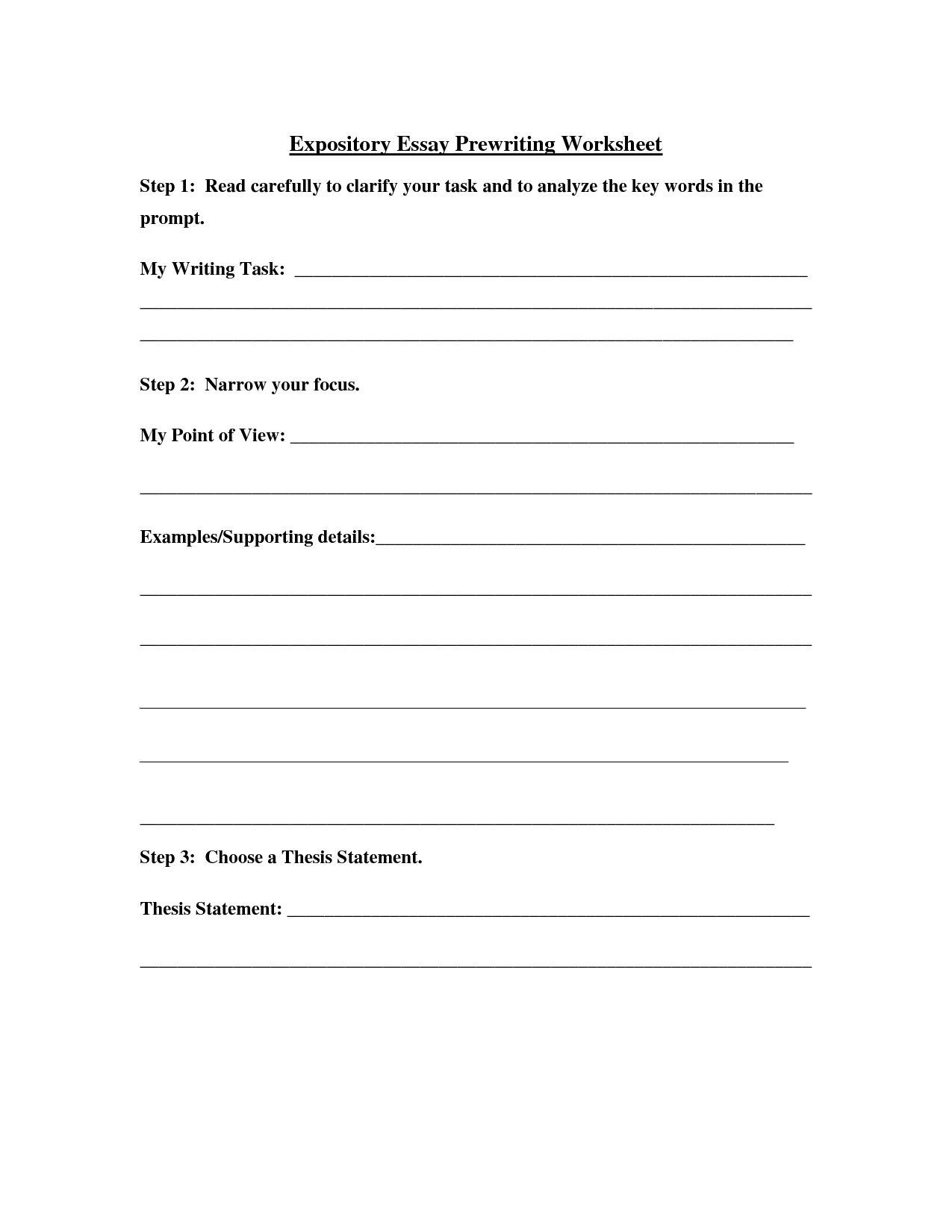 Personal Pre Writing Worksheet For Middle School