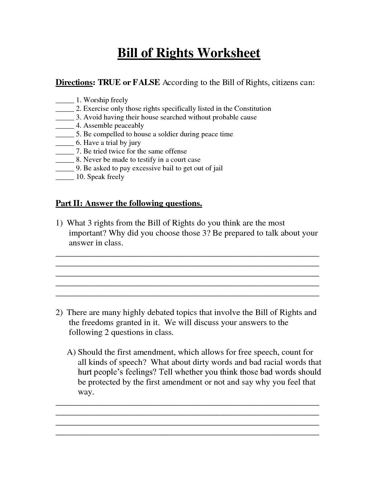33 I Have Rights Worksheet