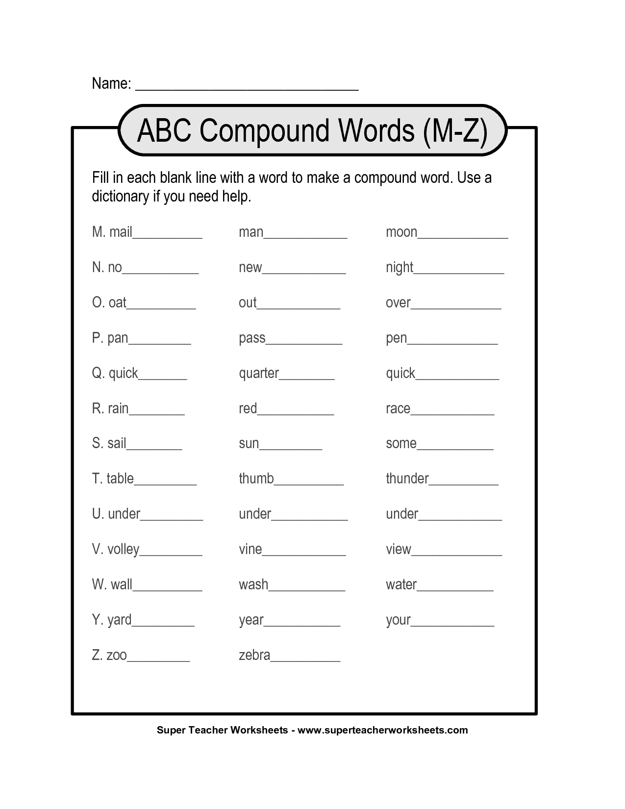 13 Best Images Of Compound Words Worksheets