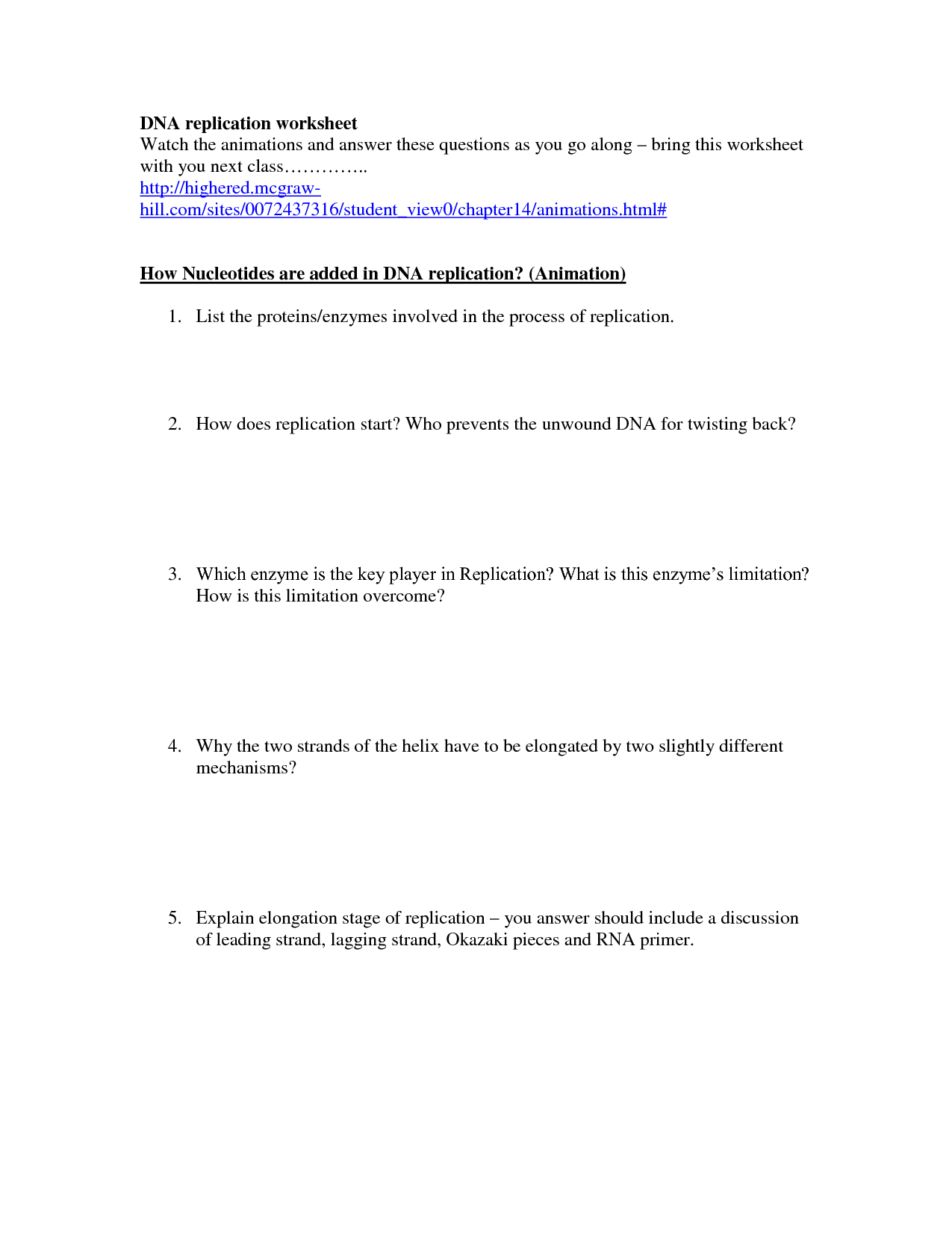 19 Best Images Of Dna Synthesis Worksheet