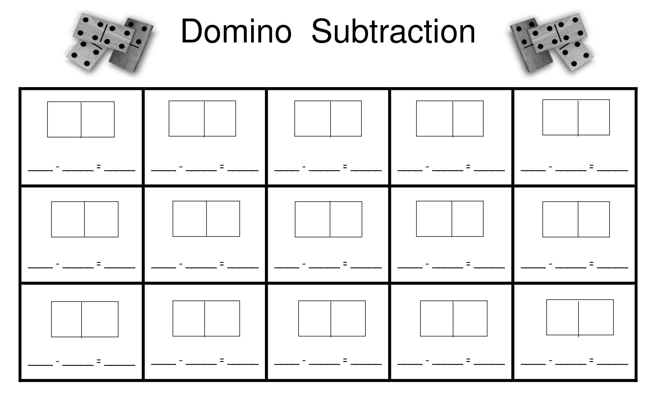 Dice Subtraction Worksheet Kindergarten