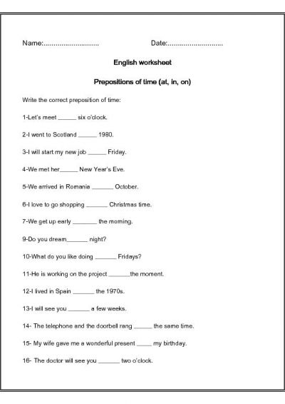 Time Worksheets » Prepositions Of Time Worksheets For