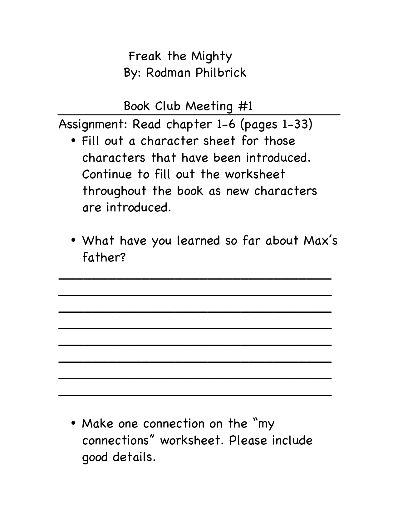 11 Best Images Of Book Club Worksheets