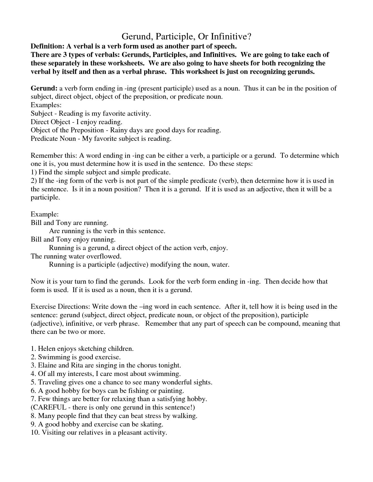 Identifying Participles Worksheet