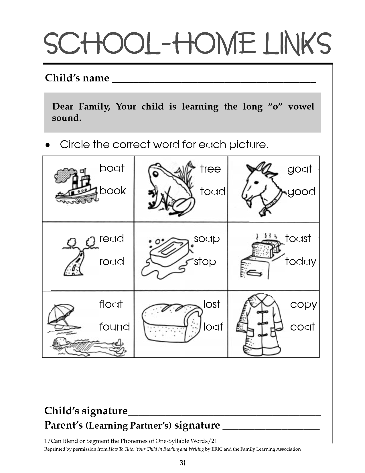 Long O Words Worksheets 1st Grade