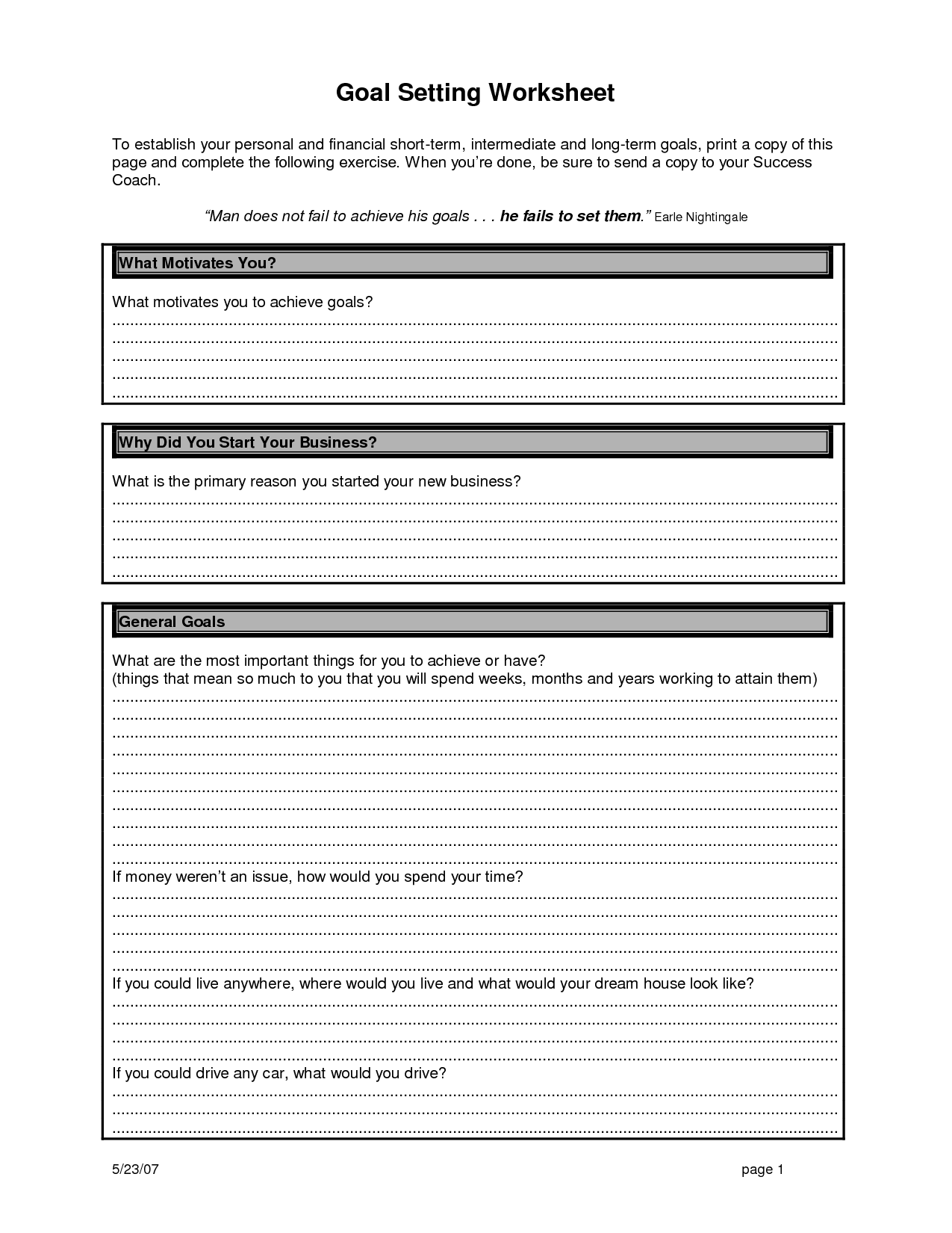 Personal Goal Setting Template