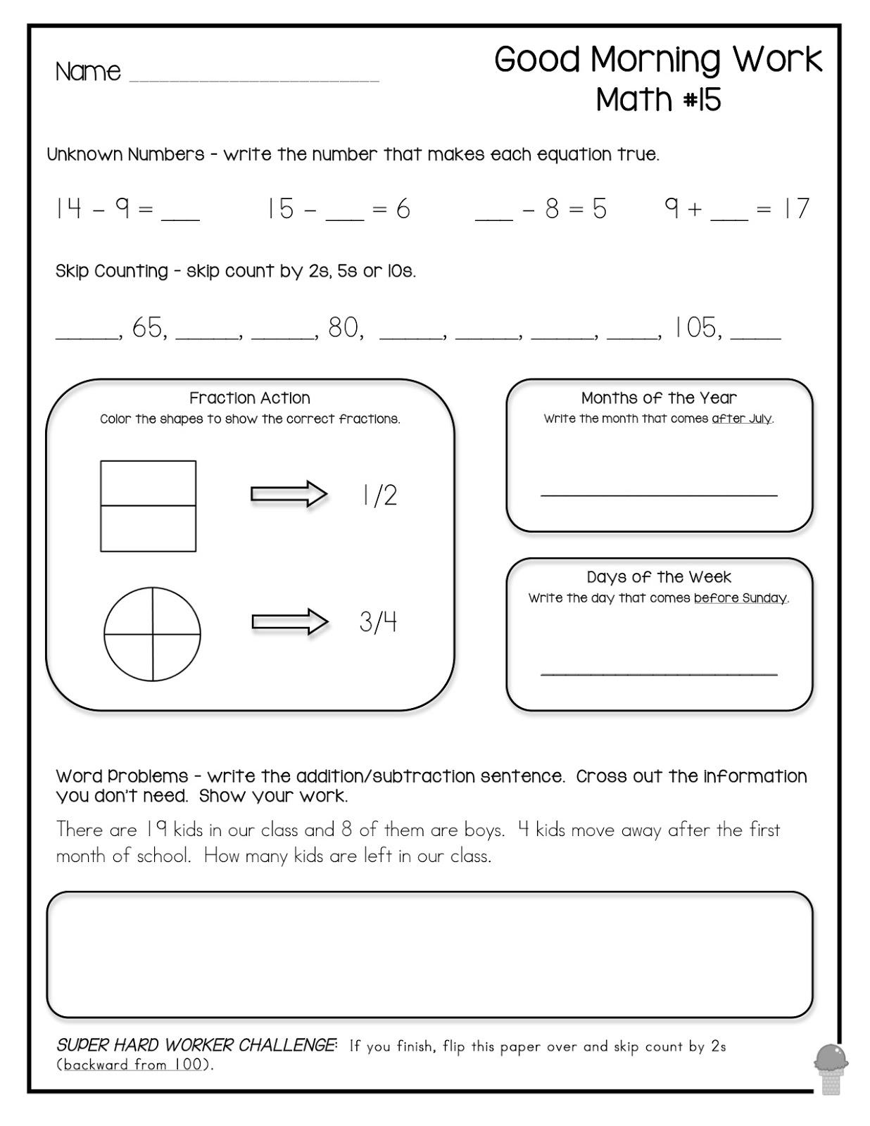 14 Best Images Of Second Grade Morning Worksheets