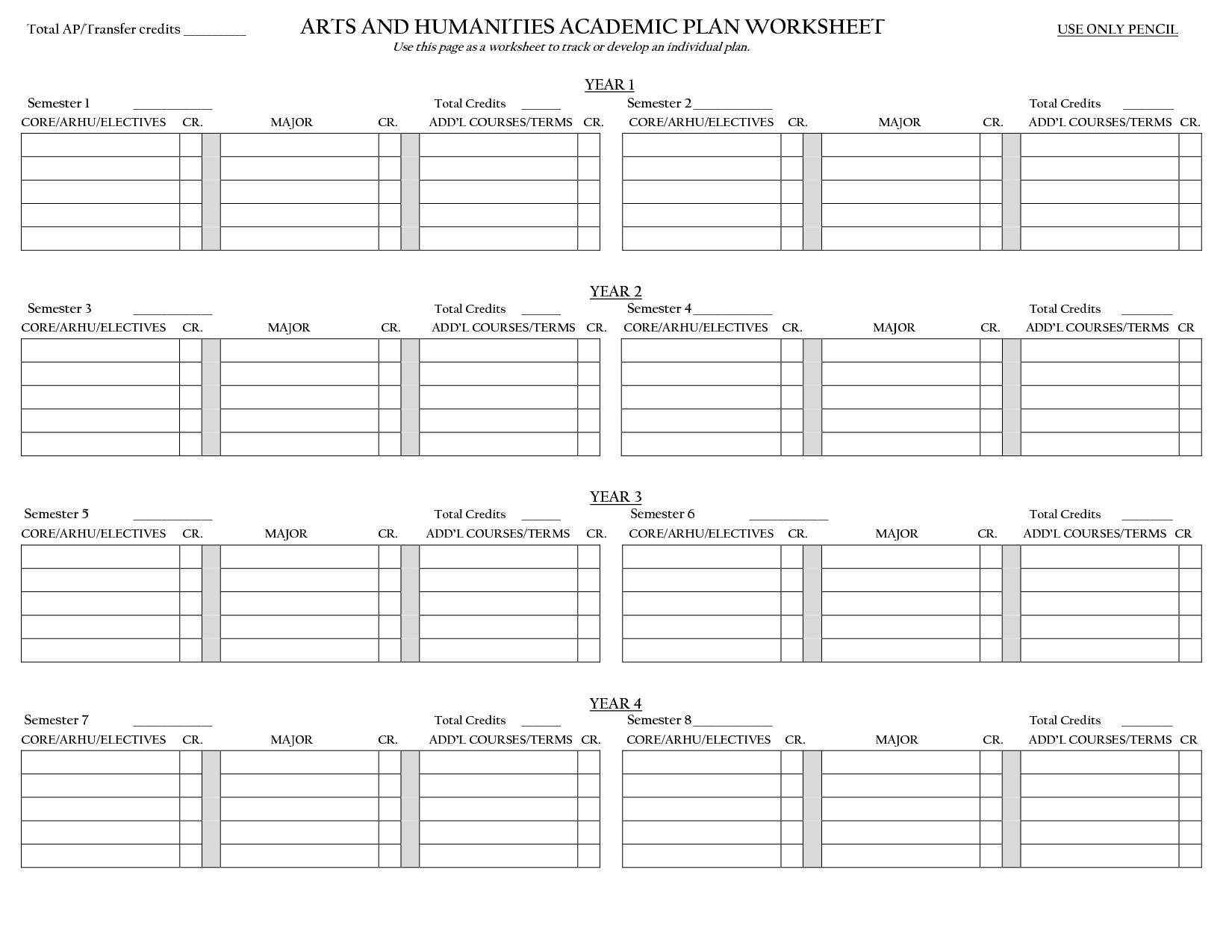 Academic Worksheet