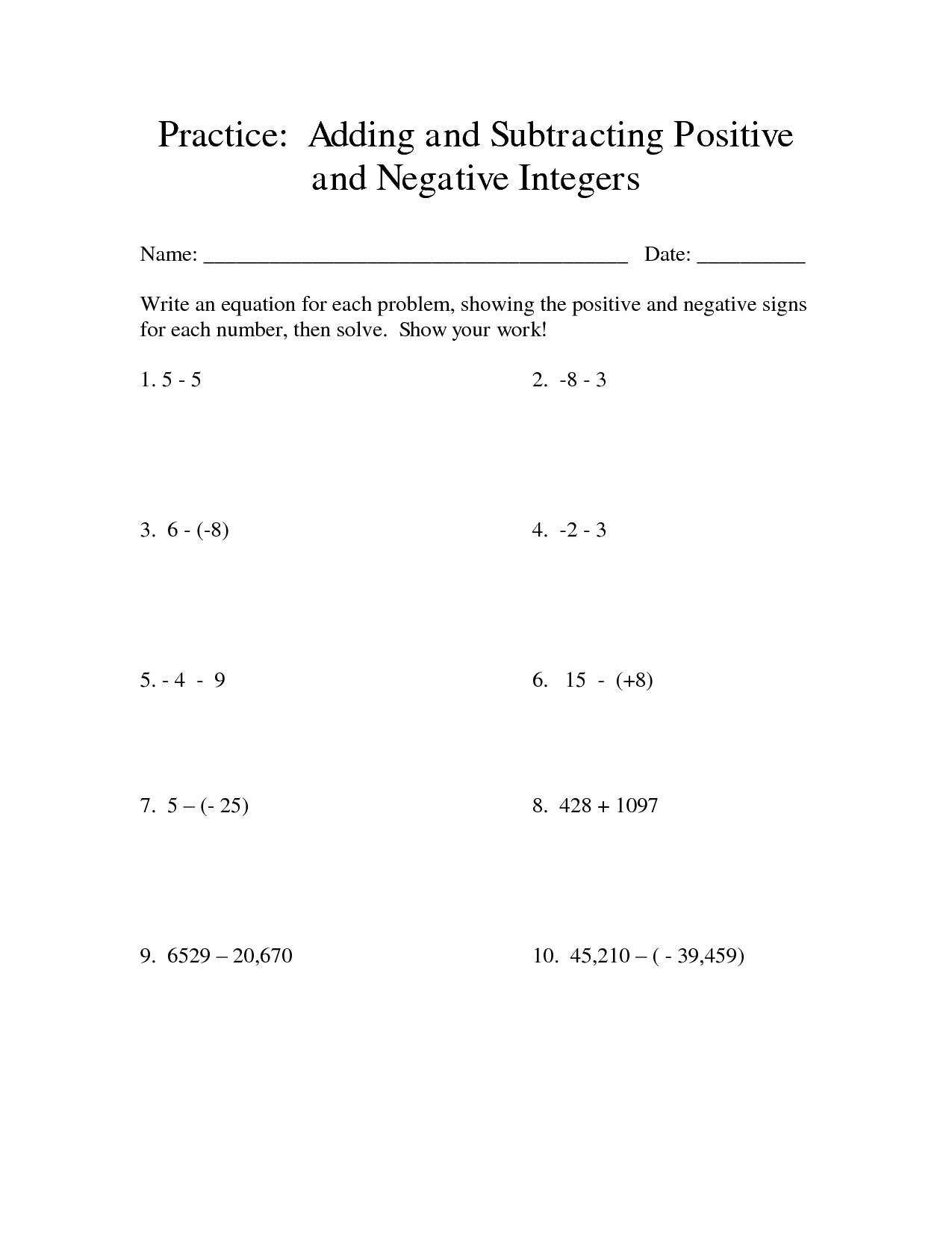 11 Best Images Of Working With Negative Numbers Worksheet
