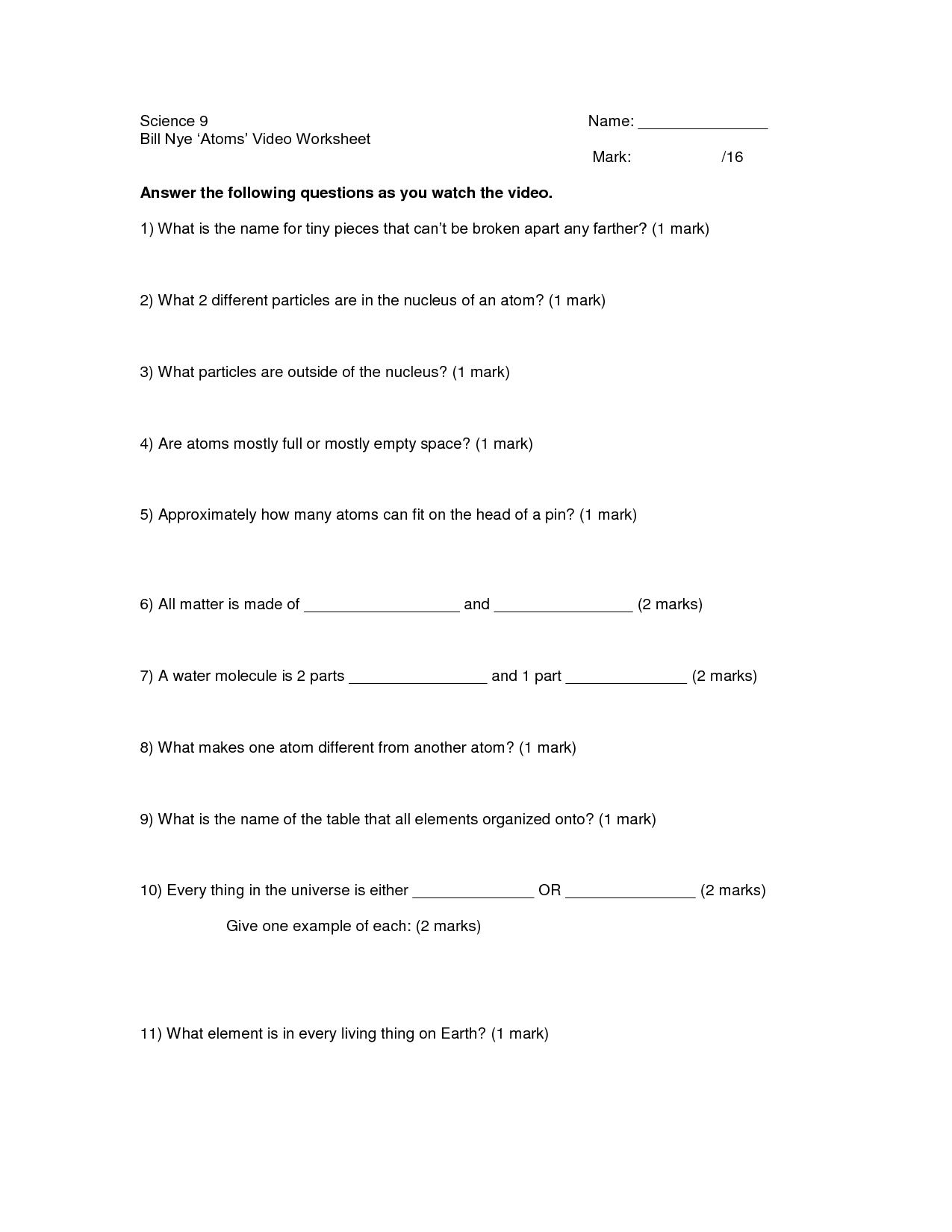 Bill Nye Waves Worksheet Answers